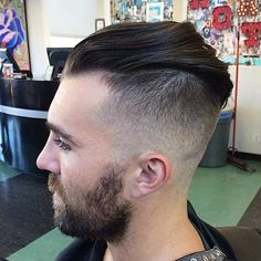 10 of the Latest Hairstyles for Men 2014 Slick hair can be so much more than Don Draper's signature look. This one-of-a-kind style swoops hair up, back, and around to the other side. Try using a flexible product like Kevin Murphy Un.dressed or Sebastian Microweb Fiber