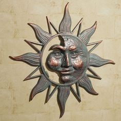 """Half Face Sun Indoor Outdoor Metal Wall Art 34"""" diameter"""