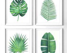Juego de 4 verde hojas monstera imprimir, Printable botánicos hoja, impresión de hoja de plátano, Palma de la areca impresión, hojas verdes de Palma acuarela arte grabado