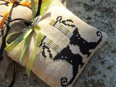 witch's boots and legs cross stitch tiny Halloween pillow ornament