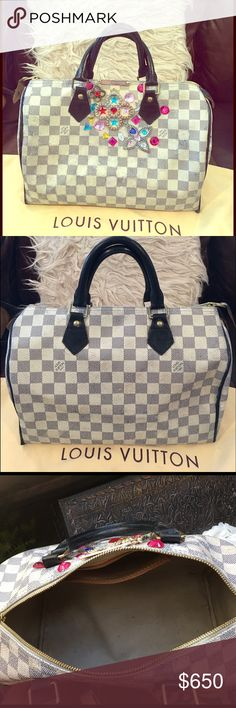Authentic Louis Vuitton Azur Speedy 30 This is an authentic Louis Vuitton Azur canvas! Made in USA in 2008! I custom dyed the handles and piping with black leather dye and decided to bling it out since I was bored of the original plain looking look! It came out beautiful and unique! Canvas is in good condition, hardware is all intact and shiny! Inside is clean a few faint stain! This bag is very delicate and prone to color transfer especially around the top but with the Rhinestone and LV…