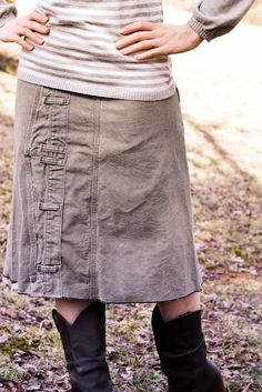 Wow, was this easy and fun to do! At the thrift store, I always dig through the $0.25 bin for things I can use as fabric. In there was a pair of size 42 men's work pants. I brought them home and made this: I planned on just using the legs as fabric (working around…