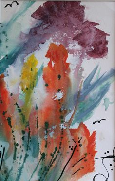 MY GARDEN #1 - watercolor & fabric paint - by Lee Quincy