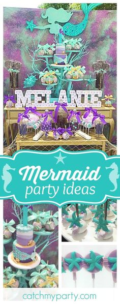 Take a look at this gorgeous Mermaid birthday party! The birthday cake is incredible!! See more party ideas and share yours at CatchMyParty.com