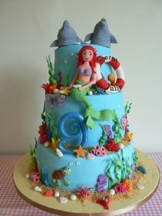 Under the sea ariel with dolphins By juljas on CakeCentral.com