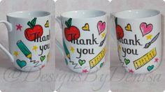 Personalised Hand Painted Teacher Gift Mug by DesignsByDenisa