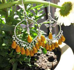 Arabian hoops, yellow Czech glass. Sterling silver earrings, bee charms. McKee Jewelry Designs #boho #indie #bohemian #jewelry