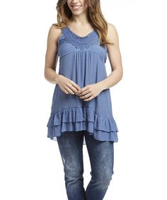 Look what I found on #zulily! Denim Crochet Sleeveless Top by Simply Irresistible #zulilyfinds