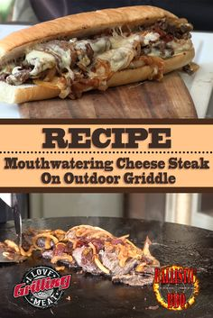 Mouthwatering Cheese Steak Recipe On Outdoor Griddle cooking cooking cooking Hibachi Recipes, Steak Recipes, Grilling Recipes, Burger Recipes, Grill Meals, Healthy Grilling, Philly Cheese Steak, Cheese Steaks, Cheese Steak Sandwich Recipe