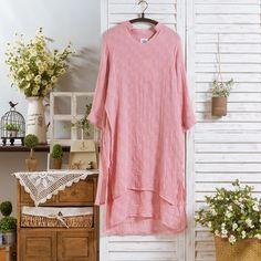 Japanese original V pure cotton linen dress loose collar dress gown Sen female line 2015 new spring and summer