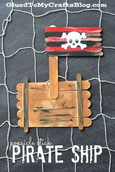 Popsicle stick pirate ship - an easy and inexpensive craft for any kid who's into pirates!