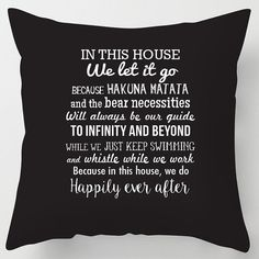 In this House we do. Disney inspired quotes throw cushion / pillow printed on a 17 soft suedette cushion complete with zip and plump cushion inner. Throw Cushions, Toss Pillows, Disney Rooms, Game Room Design, In This House We, Pillow Quotes, To Infinity And Beyond, A 17, Disney Inspired