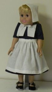 Doll pilgrim outfit - free sewing pattern. (hat, collar, apron on are three separate posts.  This link is to the apron.)