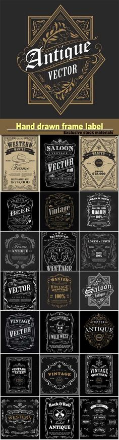 Hand drawn frame label blackboard retro vintage wanted banner vector illustration