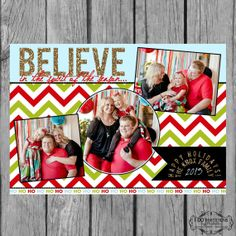 Holiday Photo Card Collage - Believe in the Spirit of the Season - Digital File