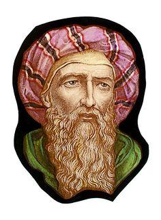 Prophet Isaiah, stained glass fragment. For sale at the Etsy shop of Stained Glass Elements. Portret van profeet Jesaja Gebrandschilderd glas fragment Formaat: 11 x 15,5 cm Dit gebrandschilderd glas is een halffabrikaat, klaar