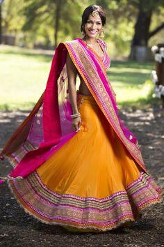 Stunning yellow and hot pink lehenga! Perfect for Sangeet!