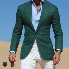 Green blazer with white pants