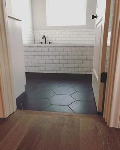 Home renovation not only helps in enhancing the overall appearance of the living place but also adds strength to the property. Astounding Home Renovation Ideas Interior and Exterior Ideas. Bathroom Renos, Bathroom Flooring, Hexagon Tile Bathroom Floor, Black Hexagon Tile, Hex Tile, Dark Floor Bathroom, Hexagon Tiles, Black Kitchen Floor Tiles, Black And White Bathroom Floor