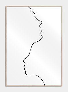Two in one line drawing - One line drawing plakater med to ansigter tegnet i en streg. Se mere flot kunst og tegninger her - Minimalist Drawing, Minimalist Art, Abstract Drawings, Easy Drawings, Line Drawings, Line Drawing Tattoos, Line Art, One Line Tattoo, Single Line Drawing