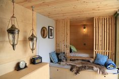 Birch ply interior of a Shipping Container conversion  Photography by Gavin Joynt