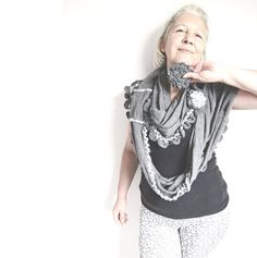 Infinity Knit Scarf Gray Knitted n Crochet by whitewolfsclouds, $35.00