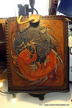Custom hand tooled leather iPad Case with by CustomToolLeather