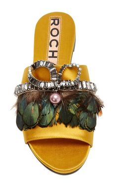 Rochas Slides | Moda Operandi  Feathers, crystals and rhinestones, canary yellow, flat sandals.