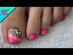YouTube Cute Pedicure Designs, Nail Art Designs, Toe Nail Art, Toe Nails, Cute Pedicures, Nail Art For Kids, Beautiful Toes, Bling Nails, Manicure