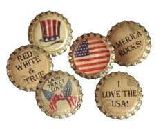 of July themed bottle caps Patriotic Party, 4th Of July Party, Fourth Of July, American Spirit, American Pride, American Flag, Bottle Cap Crafts, Bottle Caps, I Love America