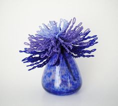 Twisted Blues  French Beaded Flower by copperglass on Etsy