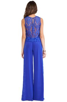 I discovered this Alexis Lace Panel Jumpsuit in Cobalt Satine from REVOLVEclothing.com on Keep. View it now.