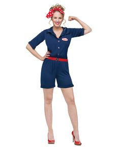 Classic Rosie the Riveter Adult Womens Costume exclusively at Spirit Halloween - Be an iconic poster woman this Halloween in the Classic Rosie the Riveter Adult Women's Costume. You can do anything you set your mind to in this blue romper with patch, belt and polka dot headscarf. Get this classic costume for $39.99