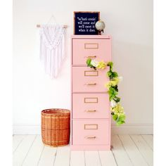 Pretty in pink - taking a filing cabinet from meh to WOW with chalk paint - Chalk paint like a pro by mixing our chalk paint powder with your favorite color paint for a fun DI - Home Office Space, Home Office Design, Home Office Decor, Home Decor, Pink Office Decor, Feminine Office Decor, Pretty In Pink, Furniture Makeover, Diy Furniture