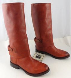 FRYE MAXINE LOOP PULL ON BOOTS :: 7.5 M :: BRICK RED LEATHER :: RIDING STYLE EUC #Frye #FashionKneeHigh