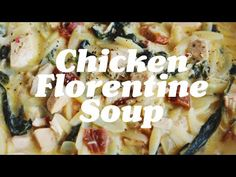 Chicken Florentine Soup is made with spinach, sun dried tomatoes, orzo, lemon, and garlic in a creamy parmesan broth. Chicken Florentine Soup, Dried Tomatoes, Orzo, Creamy Chicken, Sun Dried, Soups And Stews, Parmesan, Mashed Potatoes, Spinach