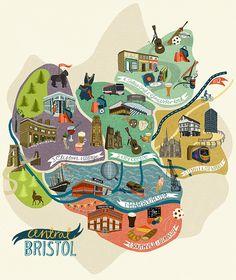 Dawn cooper - map of bristol districts illustrated maps Bristol Map, Bristol Museum, Travel Maps, Travel Usa, Travel Europe, Belfast, Bridge Drawing, Graffiti, Bristol England
