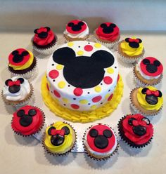 Mickey Mouse smash cake with cupcakes