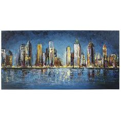 New York, Chicago or Hong Kong? Yes. Our artist's idealized creation brings to life all the color and excitement of your favorite big cities by night. Vibrant, thrumming energy in hand-painted luminous colors delivers an undeniable joy to this skyline.