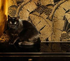 Luscious gold and black interior design, inspired by Art Deco style, in the Ralph Lauren Home One Fifth Collection...