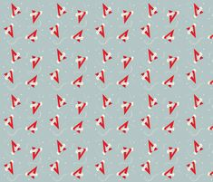 V for Victory - blue red and cream - 1940s inspired fabric by eloise_varin on Spoonflower - custom fabric