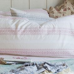 For the modern country style bedroom...Rachel Ashwell Shabby Chic Couture Gypsy Stripe Pillows...