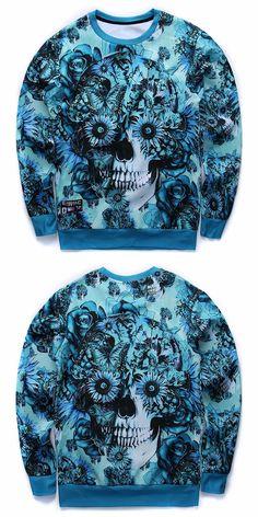 Men/Women Skulls Printing 3d Sweatshirt Print Blue Roses Sunflower and Butterfly Long Sleeve Hoodies Autumn Pullover