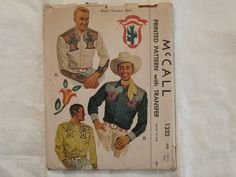 Vintage 1940s Men's Yoked Western Shirt Pattern McCall 1332 Roy Rogers Cowboy Rockabilly Embroidery