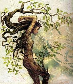 Dryad by Séverine Pineaux Earth Art nymph fairy pixie magic fantasy art trees tree spirit nature woodland Fantasy Kunst, Fantasy Art, Fantasy Creatures, Mythical Creatures, Mother Earth, Mother Nature, Tree Art, Tree Of Life, Concept Art