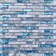 Discount Grey Stone Blue Glass Tiles Wave Marble Striped Art Mosaics Bar Hotel Decor Kitchen Backsplash Ideas Bathroom Wall Interlocking | Fifyh.com