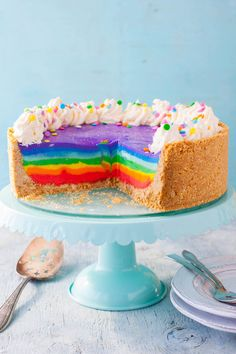 Rainbow Treats, Rainbow Food, Rainbow Cheesecake, Pastry Cake, Sweet Cakes, Ww Recipes, Colorful Birthday, Yummy Cakes, Favorite Recipes