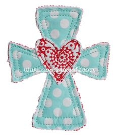 Heart Cross Applique Design - Love this for any time of year!