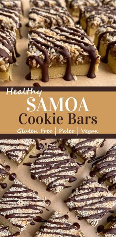 These homemade Samoa Cookie Bars are Paleo, Vegan and gluten free. They have an almond flour shortbread crust, a gooey caramel and coconut filling, are topped with shredded coconut and drizzled with dark chocolate. Better than a classic Samoa cookie? I think so! #samoas #paleo #vegan #glutenfree Healthy Vegan Desserts, Paleo Vegan, Healthy Dessert Recipes, Vegan Baking, Egg Free Recipes, Paleo Recipes Easy, Samoa Cookies, Bar Cookies, Easy To Make Desserts