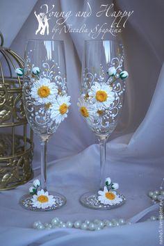 """Купить Бокалы коллекция """"Ромашки"""" - белый, желтый, золотой, свадебные аксессуары, бокалы ручной работы"""